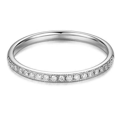 HAFEEZ CENTER 14K Solid Gold Moissanite Eternity Wedding Band (.13cttw, H-I Color, SI1 Clarity) (White-Gold, 6)