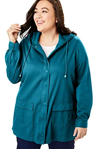Woman Within Women's Plus Size Lightweight Hooded Jacket - 18/20, Deep Teal
