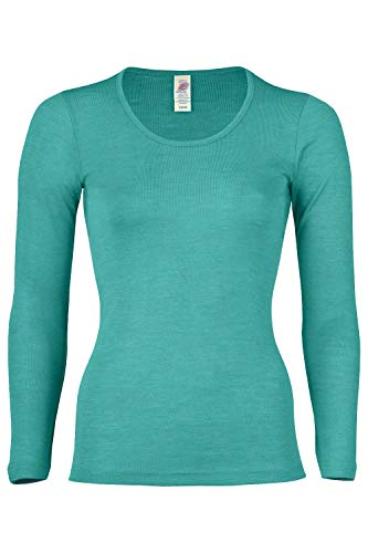 Women's Thermal Base Layer Top - Lightweight Moisture Wicking Organic Merino Wool Silk Undershirt (EU 38-40 | Small, Ice Blue)