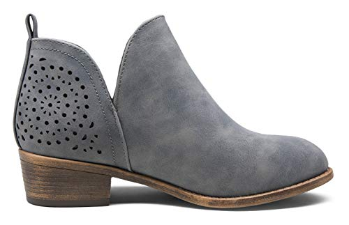 VEPOSE Women's Ankle Boots Low Heels Chunky Cutout Booties Perforated Western Shoes Grey(8,Cutout Ankle-912-Grey)