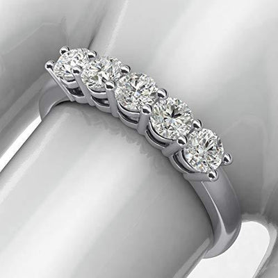 14k White Gold Eternal Five Stones Anniversary Ring Simulated Brilliant Diamonds Eternity ring 1.25ctw for Women (7)