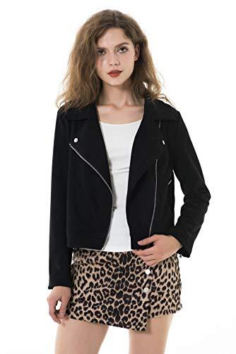 Apperloth Women's Long Sleeve Zipper Closure Motorcycle Biker Faux Suede Polyester Black Jacket - PRTYA