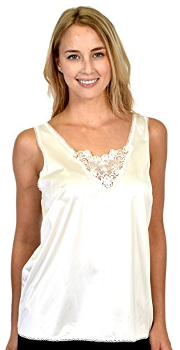 Patricia Lingerie Women's Anti-Static Camisole with Elegant Lace (Ivory, M)