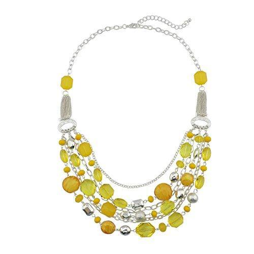 Bocar Newest Multi Layer Chain Crystal Colored Glaze Statement Women Necklace (NK-10061-lemon)