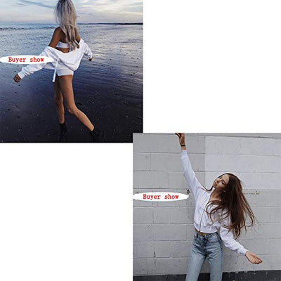 Germinate Huang Cropped Hoodies Women Zipper Zip Up Cute Aesthetic White Sweaters Sweatshirts Oversized Plus Size (White H, Small)