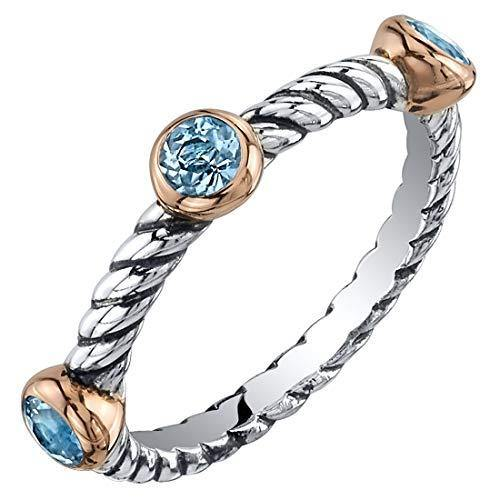 Peora London Blue Topaz 3-Stone Stackable Ring in Sterling Silver, Cable Rope Band for Women 2.1mm Sizes 9