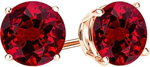 1/2 Carat Total Weight Natural Ruby Solitaire Stud Earrings Pair 14K Rose Gold Popular Premium Collection 4 Prong Push Back