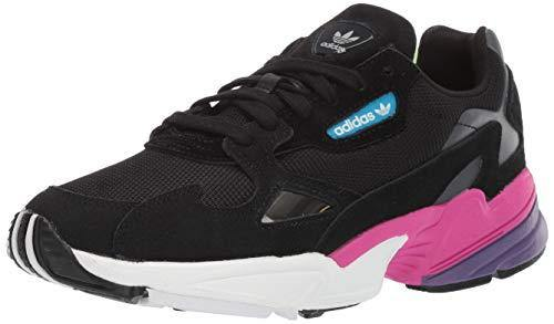 adidas Originals Women's Falcon Running Shoe, Black/Black/Shock Pink, 8.5 M US