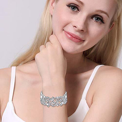 EVER FAITH Women's Austrian Crystal Stunning Hollow Floral Bridal Stretch Bracelet Silver-Tone