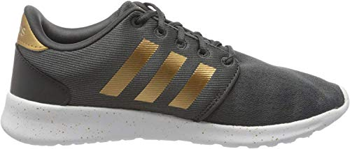 adidas Women's Cloudfoam QT Racer Xpressive-Contemporary Cloadfoam Running Sneakers Shoes, Grey Six/tactile gold met./ftwr White, 12 M US