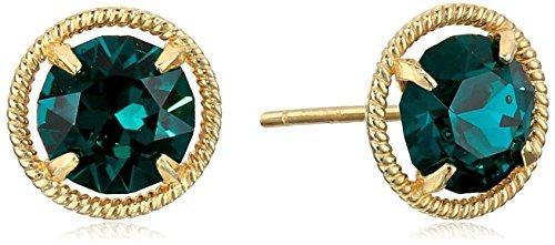 10k Gold Made with Swarovski Birthstone May Stud Earrings