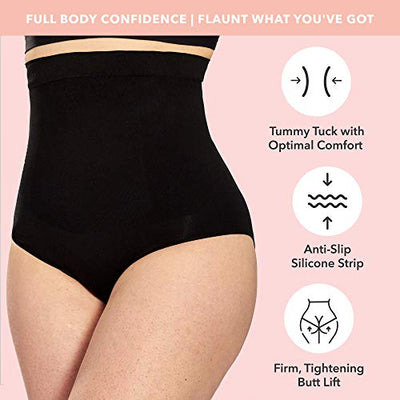 Shapermint Body Shaper Waist Trainer Tummy Control Panty - Butt Lifter Panties - Plus Size Shapewear for Women XLXXL Black
