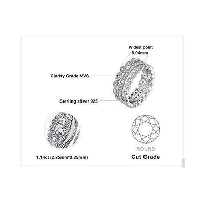 JewelryPalace Wedding Bands Rings Anniversary Eternity Bands 3 Stackable Rings Cubic Zircoina Engagement Bridal Milgrain Marquise Infinity 925 Sterling Silver Ring Sets For Women Size 7