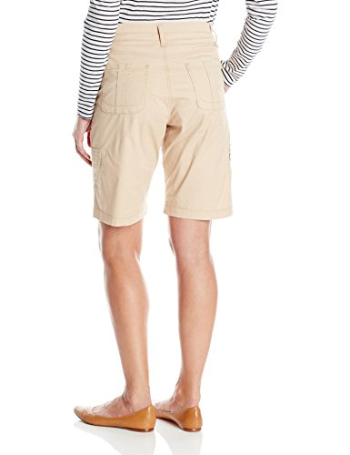 Lee Women's Missy Relaxed Fit Avey Knit Waist Cargo Bermuda Short, Café, 14