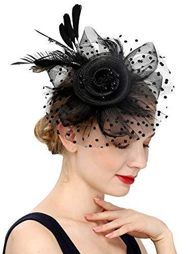 Fascinators Hat for Women Tea Party Headband Kentucky Derby Wedding Flower Cocktail Mesh Feathers Hair Clip (1-a-Black)