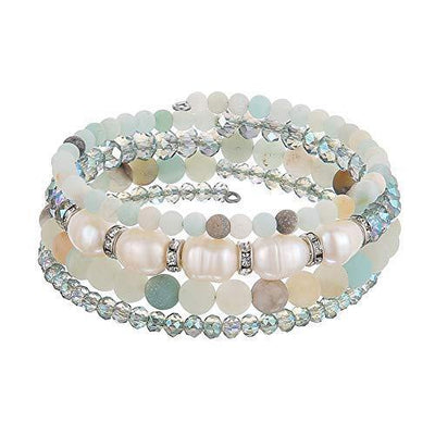 Beaded Freshwater Pearl Chakra Bracelet - Multi Strand Wrap Bracelet with Natural Crystal Agate Beads, Birthday Gifts for Women (Green)