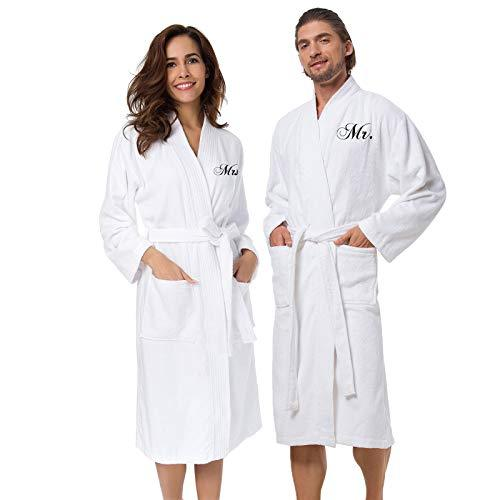 AW BRIDAL White Terry Cotton Robes Personalized Robes for Women, Men's Lightweight Spa Bathrobes with Pockets - PRTYA
