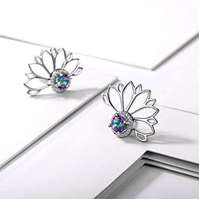 Hypoallergenic Ear Jacket Stud Lotus Flower Earrings for Women Girls, 925 Sterling Silver Colorful Topaz Front/Back Stud Earrings for Sensitive Ear Dainty Fashion Jewelry