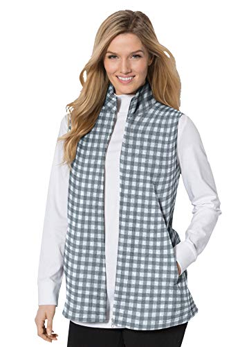 Woman Within Women's Plus Size Zip-Front Microfleece Vest - 1X, Pearl Grey Mini Buffalo Plaid