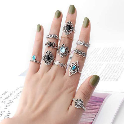 ONESING 40-69 Pcs Knuckle Rings for Women Stackable Rings Set Girls Bohemian Retro Vintage Joint Finger Rings Hollow Carved Flowers (69 Pcs)
