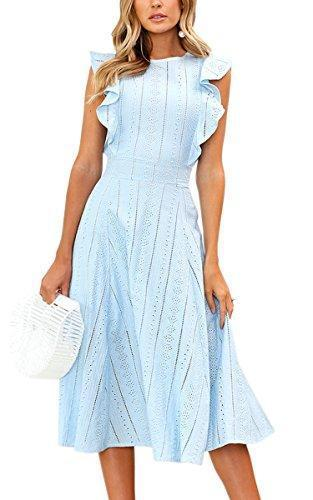 ECOWISH Womens Dresses Elegant Ruffles Cap Sleeves Summer A-Line Midi Dress Blue S - PRTYA