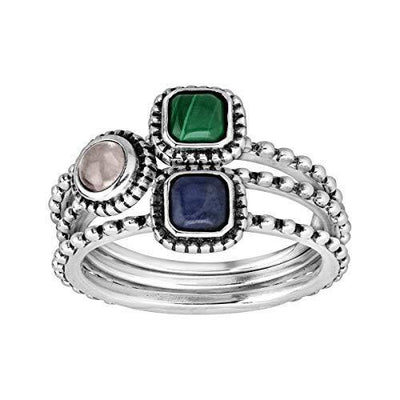 Silpada 'Day Break' 3/4 ct Natural Rose Quartz, Sodalite, Malachite Stacking Rings in Sterling Silver, Size 8
