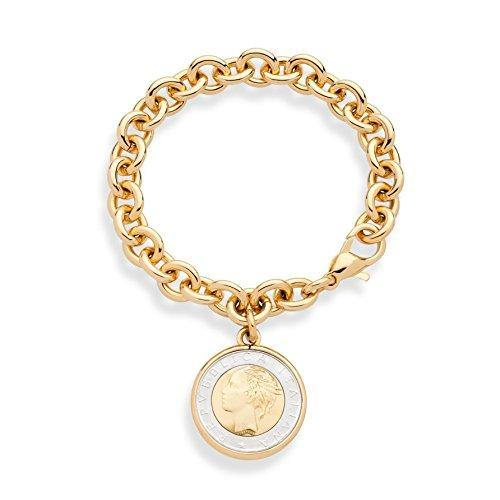 Miabella 18K Gold over Bronze Italian Genuine 500-Lira Coin Charm Rolo Link Chain Bracelet for Women Made in Italy