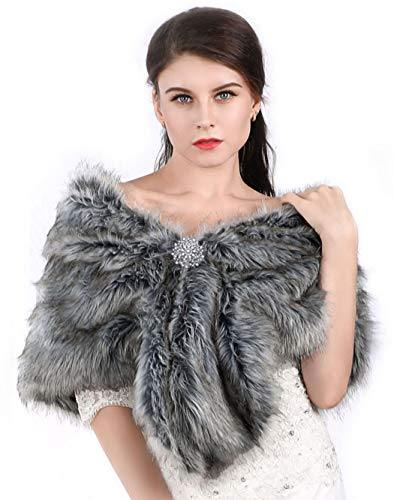 Aukmla Women's Faux Fur Shawls and Wraps Wedding Faux Fox Fur Stole Bridal Fur Scarf for Bride and Bridesmaids(Grey)