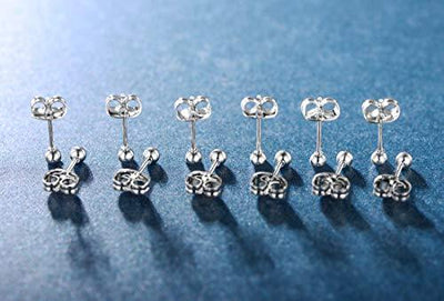 MDFUN 6 Pairs of Surgical Stainless Steel 4.00mm Stud Ball Earrings(Set of 6)