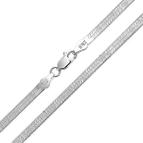 Thin Herringbone Flat Snake Flexible Chain Link Strong 3MM For Women Necklace 925 Sterling Silver Made In Italy 16 Inch
