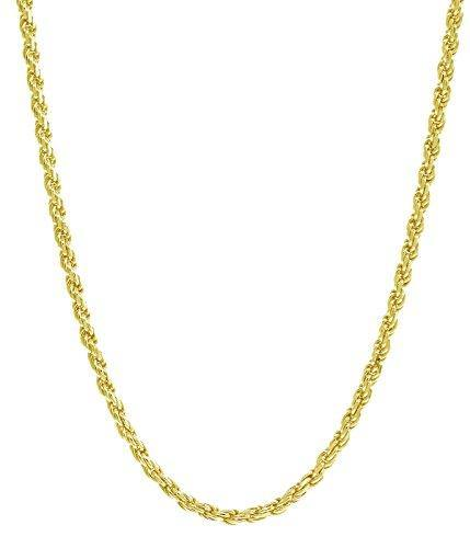 "18K Gold 1.5MM Diamond Cut Rope Chain Necklace - Made in Italy -14""-30"" - Yellow, White, Or Rose Gold (Yellow, 24)"