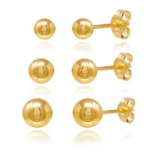 14KT Gold Ball Stud Earrings 3 Pairs Set 3m 4m 5m