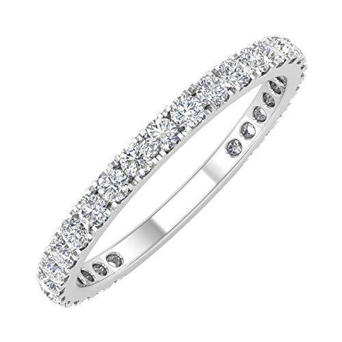 1/2 Carat Diamond 3/4 Eternity Wedding Band in 10k White Gold (Ring Size 5.5)