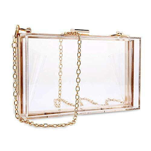 Women Clear Purse Acrylic Clear Clutch Bag, Shoulder Handbag With Removable Gold Chain Strap (Gold)