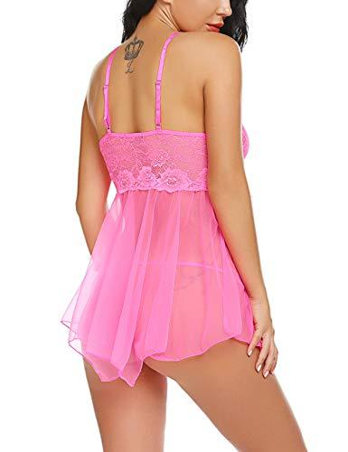 Avidlove Women Sexy Lingerie Babydoll Lace Nightgown Mesh Chemise Boudoir Nighty Hot Pink - PRTYA
