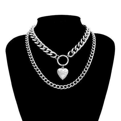 Huture Punk Rapper Style Multi-Layer Jewelry Openable Heart Shaped Photo Frame Pendant Retro Choker Collar Chain Necklace Locket Simple Shaped Plain Fine Gift for Women Teens Girls Charm, Silver