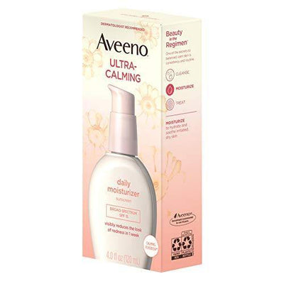 Aveeno Ultra-Calming Daily Facial Moisturizer for Sensitive, Dry Skin with Broad Spectrum SPF 15 Sunscreen, Calming Feverfew & Nourishing Oat, Oil-Free & Hypoallergenic, 4 fl. oz