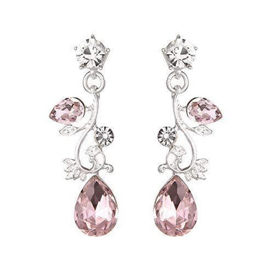 Youfir Leaf Vine Crystal Necklace Earrings Jewelry Set for Bridesmaids V-Neck Formal Evening Dress (Pink)