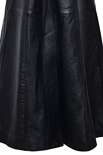 Trench Ladies Black 298 Classic Full-Length Gothic Real Nappa Leather Jacket Coat (4 US / 8 UK)