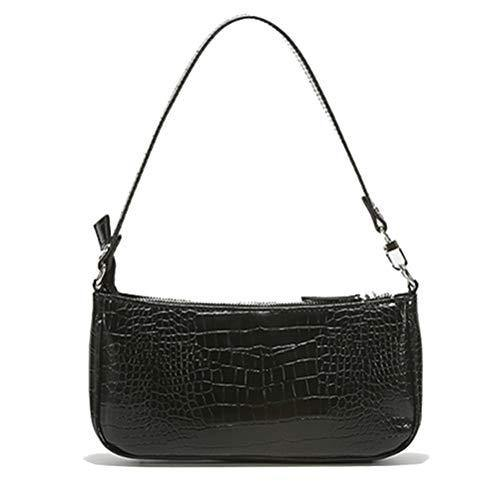 Barabum Retro Classic Crocodile Pattern Clutch Shoulder Bag with Zipper Closure for Women(Black)