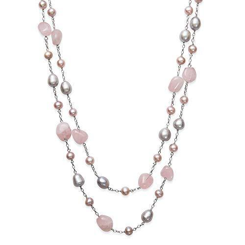 Sterling Silver Rose Quartz Pink Cultured Freshwater Pearl Station Tin Cup Necklace,18""