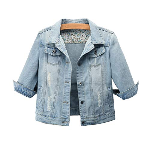 Hixiaohe Women Autumn 3/4 Sleeve Retro Short Denim Jackets Light Blue Jean Coats (Light Blue, l)