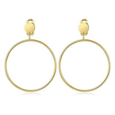 BIRSTONE Clip on 2 Inch Large Big Hoop Minimalist Earrings