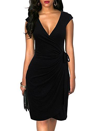 Berydress Women's Stretchy Cotton Blend Solid Knee Length Tie Belt Gathers Deep V Neck Faux Wrap Dress (L, 6028-black) - PRTYA