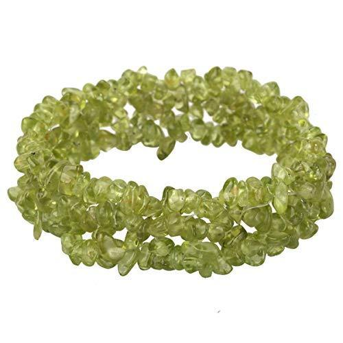 YACQ Peridot Stretch Cuff Bracelet 5 Layer Braided Chunky Chakra Bracelet Green Handmade Jewelry for Women Teen Girls 7.5""