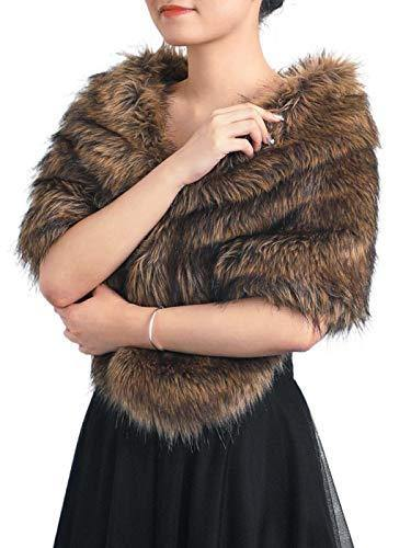 Gorais Wedding Faux Fur Shawls and Wraps Winter Bridal Women Fur Scarf with Brooch for Bride and Bridesmaids