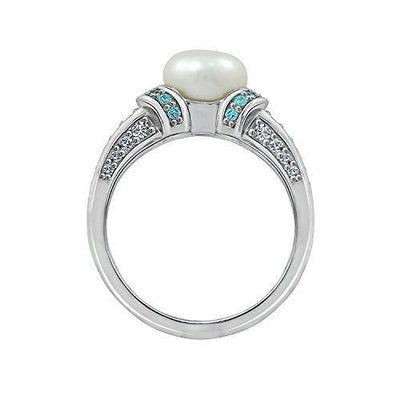 Platinum Plated Sterling Silver Freshwater Pearl with Frosty Mint Swarovski Zirconia Accents Ring, Size 6
