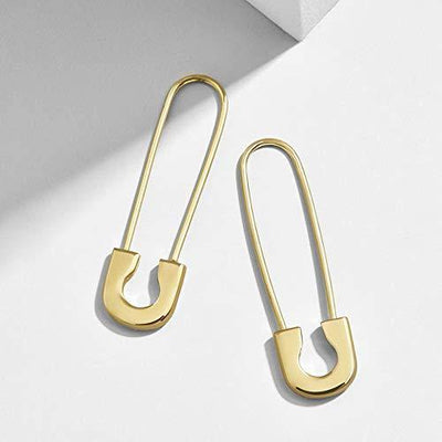 Fashion 14K Gold Plated Earrings Set - Huggie Hoops, Stud, Ear Cuff and Safety Pins Earrings (Earrings Set B)