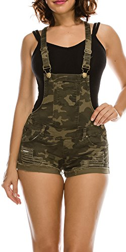 TwiinSisters Women's Destroyed Slim Curvy Pants Plus Size Short Overalls (Large, Camo #Rjso937)