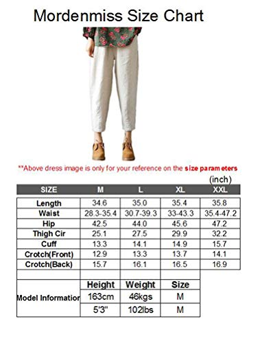 Mordenmiss Women's Linen Ankle Pants Capris Cropped Tapered Trousers with Pockets (M,Orange)